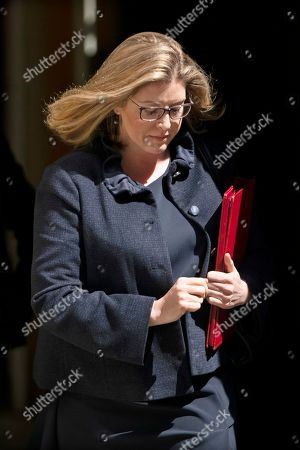 British Secretary of State for Defence Penny Mordaunt leaves after a cabinet meeting in Downing Street. central London, Britain, 16 July, 2019. The contest to replace Theresa May as leader of the Conservative Party and Prime Minister will finish on 23 July when her replacement will be announced with the winner taking office a day later.