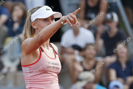 Jil Teichmann, of Switzerland, celebrates her victory against  Timea Bacsinszky, of Switzerland, during their first round match, at the WTA International Ladies Open Lausanne tournament, in Lausanne, Switzerland, Tuesday, July 16, 2019.