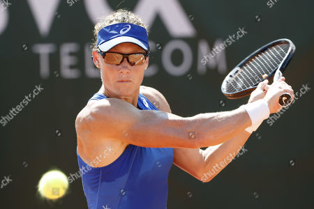 Samantha Stosur of Australia in action during her first round match against Barbara Haas of Austria at the WTA International Ladies Open Lausanne tennis tournament, in Lausanne, Switzerland, 16 July 2019.