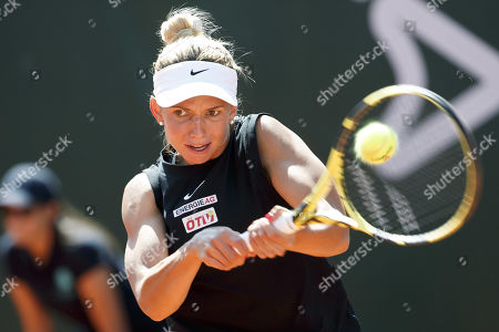 Barbara Haas of Austria in action during her first round match against Samantha Stosur of Australia at the WTA International Ladies Open Lausanne tennis tournament, in Lausanne, Switzerland, 16 July 2019.