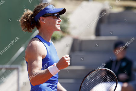 Samantha Stosur of Australia reacts during her first round match against Barbara Haas of Austria at the WTA International Ladies Open Lausanne tennis tournament, in Lausanne, Switzerland, 16 July 2019.