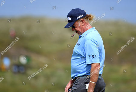 Miguel Angel Jimenez of Spain on the green during the second practice day prior to the British Open Golf Championship at Royal Portrush, Northern Ireland, 16 July 2019.