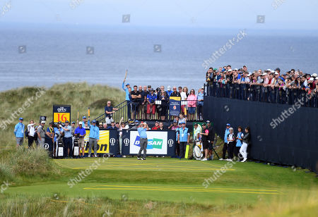 Miguel Angel Jimenez of Spain tees off on the 16th during the second practice day prior to the British Open Golf Championship at Royal Portrush, Northern Ireland, 16 July 2019.