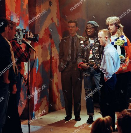 The Roxy presenter Pat Sharp interviewing Reverend Richard Coles of The Communards, Jermaine Stewart and Jimmy Somerville of The Communards.
