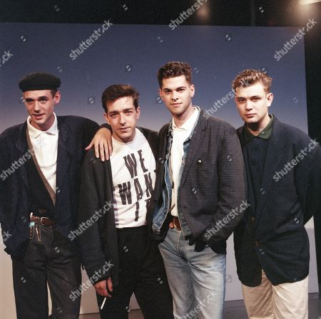 Stock Image of Pop Band: Curiosity Killed The Cat: Ben Volpeliere-Pierrot (vocals), Julian Godfrey Brookhouse (guitar), Nick Thorp (bass guitar, keyboards), Migi Drummond (drums).