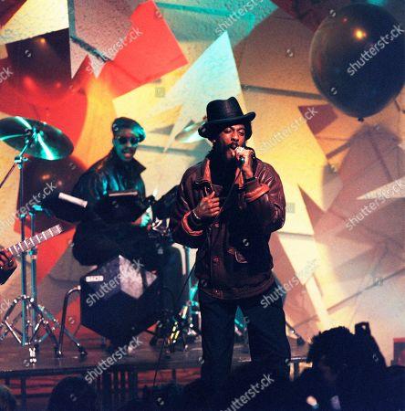 Stock Image of Pop Band: Aswad: Angus Gaye aka Drummie Zeb - vocals, drums; Tony Robinson aka Tony Gad - vocals, bass, keyboards; Brinsley Forde aka Dan - vocals, rhythm guitars