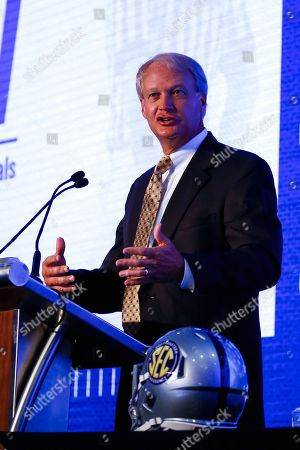 Stock Image of Steve Shaw, Coordinator of Officials, speaks during the NCAA college football Southeastern Conference Media Days, in Hoover, Ala