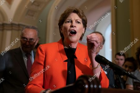Chuck Schumer, Jeanne Shaheen. Sen. Jeanne Shaheen, D-N.H., joins Senate Minority Leader Chuck Schumer, D-N.Y., left, to speak on climate change during a news conference at the Capitol in Washington