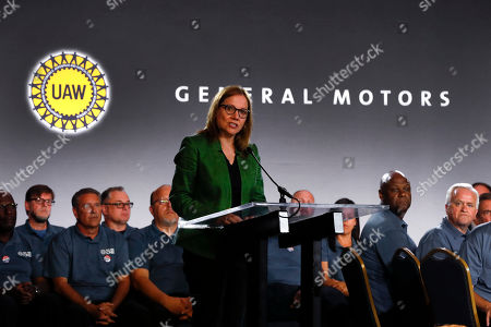 General Motors Chairman and Chief Executive Officer Mary Barra speaks the opening of their contract talks with the United Auto Workers in Detroit