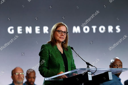 United Auto Workers President Gary Jones, left, and General Motors Chairman and Chief Executive Officer Mary Barra speaks during the opening of their contract talks with the United Auto Workers in Detroit