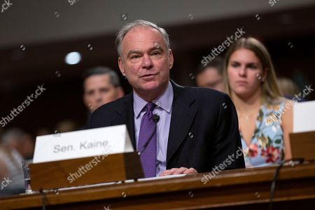 United States Senator Tim Kaine (Democrat of Virginia) speaks on behalf of Mark T. Esper during his confirmation hearing to be the United States Secretary of Defense on Capitol Hill