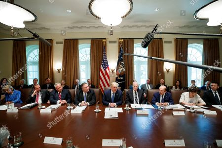 Donald Trump, Mike Pompeo, Richard Spencer, Kevin McAleenan, Elaine Chao, Wilbur Ross, David Bernhardt, Alex Azar, Betsy DeVos. President Donald Trump, center, speaks during a Cabinet meeting in the Cabinet Room of the White House, in Washington. Trump is accompanied by Education Secretary Betsy DeVos, left, Health and Human Services Secretary Alex Azar, Interior Secretary David Bernhardt, Secretary of State Mike Pompeo, Trump, acting Defense Secretary Richard Spencer, Commerce Secretary Wilbur Ross, Transportation Secretary Elaine Chao, and Acting Secretary of Homeland Security Kevin McAleenan