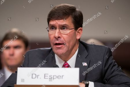 Acting US Secretary of Defense Mark Esper testifies during his confirmation hearing before the Senate Armed Services Committee to be Secretary of Defense in the Dirksen Senate Office Building at the Capitol in Washington, DC, USA, 16 July 2019. If confirmed, Esper would replace former Secretary of Defense James Mattis.