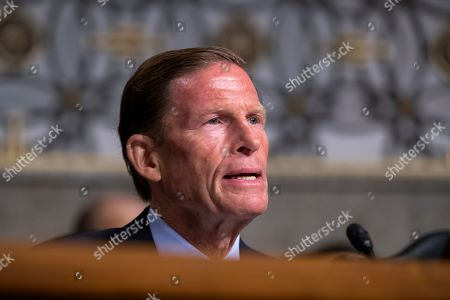 Democratic Senator from Connecticut Richard Blumenthal question Acting US Secretary of Defense Mark Esper during Esper's confirmation hearing before the Senate Armed Services Committee to be Secretary of Defense in the Dirksen Senate Office Building at the Capitol in Washington, DC, USA, 16 July 2019. If confirmed, Esper would replace former Secretary of Defense James Mattis.