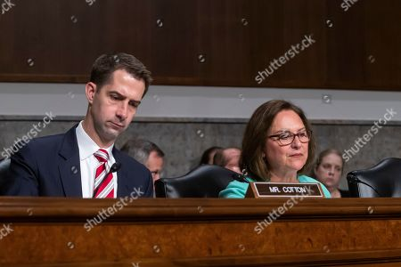 Stock Image of Republican Senator from Arkansas Tom Cotton (L) and Republican Senator from Nebraska Deb Fischer (R) question Acting US Secretary of Defense Mark Esper during Esper's confirmation hearing before the Senate Armed Services Committee to be Secretary of Defense in the Dirksen Senate Office Building at the Capitol in Washington, DC, USA, 16 July 2019. If confirmed, Esper would replace former Secretary of Defense James Mattis.