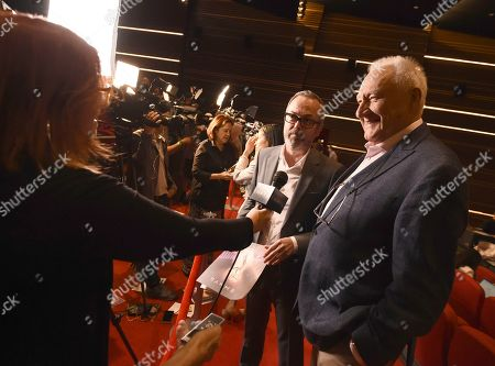 Don Mischer, Ian Stewart. Don Mischer, from right, and Ian Stewart participate in an interview at the nominations for the 71st Emmy Awards at the Saban Media Center's Wolfe Theatre at the Television Academy on in North Hollywood, Calif
