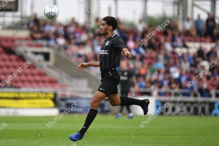 Northampton Town defender Jay Williams (5) on defensive duties during the Pre-Season Friendly match between Northampton Town and Sheffield Wednesday at the PTS Academy Stadium, Northampton