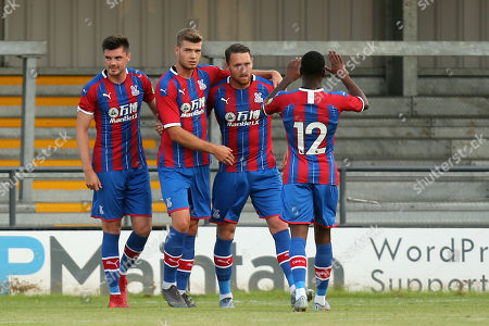 Stock Image of Connor Wickham of Crystal Palace  is congratulated after scoring the second goalduring Barnet vs Crystal Palace, Friendly Match Football at the Hive Stadium on 16th July 2019