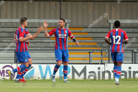 Connor Wickham of Crystal Palace  is congratulated after scoring the second goalduring Barnet vs Crystal Palace, Friendly Match Football at the Hive Stadium on 16th July 2019