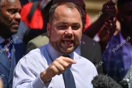 NYC Council Speaker Corey Johnson speaks at a press conference after the Justice Department declined to pursue federal charges against a New York City police officer in his 2014 death