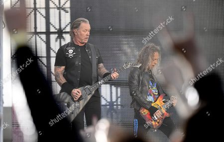 Metallica - James Hetfield and Kirk Hammett on stage during the band's Worldwired Tour concert