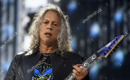 Metallica - Kirk Hammett on stage during the band's Worldwired Tour concert