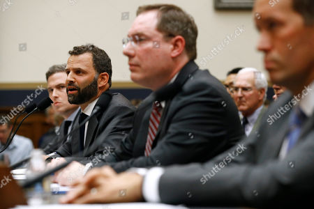 Stock Photo of Matt Perault, Kyle Andeer, Nate Sutton, Adam Cohen. Facebook Head of Global Policy Development Matt Perault, second from left, testifies alongside Google Director of Economic Policy Adam Cohen, back left, Amazon Associate General Counsel Nate Sutton, second from right, and Apple Vice President for Corporate Law and Chief Compliance Officer Kyle Andeer during a House Judiciary subcommittee hearing, on Capitol Hill in Washington