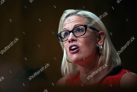Kyrsten Sinema, Steven Dillingham, Robert Goldenkoff, Nicholas Marinos. Senate Security and Governmental Affairs Committee member Sen. Kyrsten Sinema, D-Ariz., questions witnesses during a hearing on 2020 census on Capitol Hill in Washington