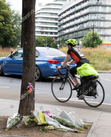 Stock Picture of Flowers are laid in remembrance of Emily Hartridge who was killed when the electronic scooter she riding collided with a lorry just half a mile from her home in Battersea