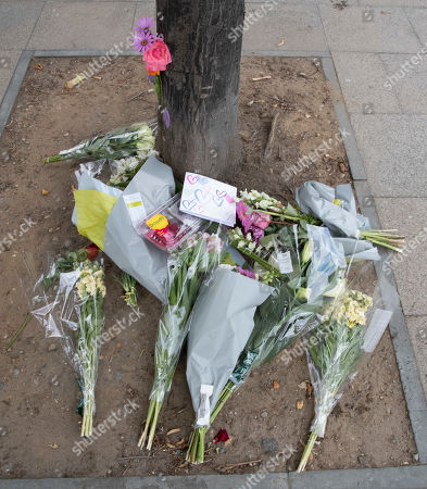 Stock Image of Flowers are laid in remembrance of Emily Hartridge who was killed when the electronic scooter she riding collided with a lorry just half a mile from her home in Battersea