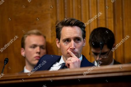 United States Senator Josh Hawley (Republican of Missouri) listens during the Subcommittee on the Constitution