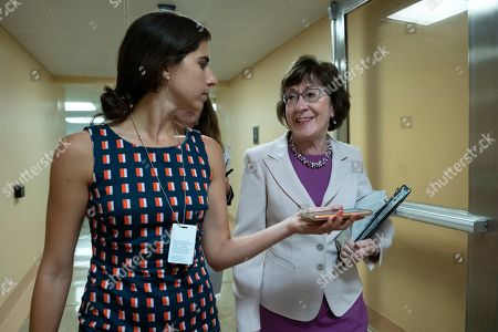 United States Senator Susan Collins (Republican of Maine) passes through the Senate subway
