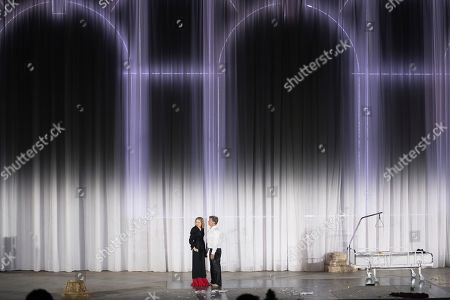 Valery Tscheplanowa as Buhlschaft (L) and Tobias Moretti as Jedermann perform on stage during a rehearsal of Hugo von Hofmannsthal's Jedermann (Everyman) at the Domplatz square in Salzburg, Austria, 16 July 2019 (issued 17 July 2019). The play Jedermann, one of the highlights of the Salzburg festival, which was established in 1920, runs from 20 July to 31 August 2019.