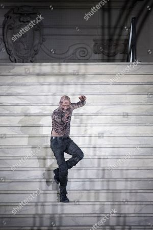 Peter Lohmeyer as death performs on stage during a rehearsal of Hugo von Hofmannsthal's Jedermann (Everyman) at the Domplatz square in Salzburg, Austria, 16 July 2019 (issued 17 July 2019). The play Jedermann, one of the highlights of the Salzburg festival, which was established in 1920, runs from 20 July to 31 August 2019.
