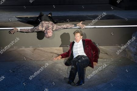 Stock Picture of Tobias Moretti as Jedermann (front) and Peter Lohmeyer as death (back) perform on stage during a rehearsal of Hugo von Hofmannsthal's Jedermann (Everyman) at the Domplatz square in Salzburg, Austria, 16 July 2019 (issued 17 July 2019). The play Jedermann, one of the highlights of the Salzburg festival, which was established in 1920, runs from 20 July to 31 August 2019.