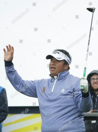 Thailand's Kiradech Aphibarnrat reacts after playing his tee shot at the 16th during a practice round ahead of the start of the British Open golf championships at Royal Portrush in Northern Ireland, . The British Open starts Thursday