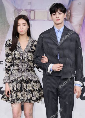 Stock Picture of Shin Se-kyung (L) and Cha Eun-woo, who star in MBC-TV's new drama 'Rookie Historian Goo Hae-ryung,' pose during a showcase at the broadcaster's headquarters in Seoul, South Korea, 17 July 2019. The first episode of the drama, which tells the story of a young female historian's love with a prince, will air later in the day.
