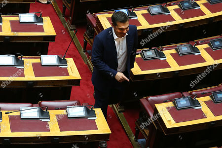 Former Prime Minister Alexis Tsipras attends a swearing in ceremony for the new members of parliament at the Greek Parliament, in Athens, Greece, on 17 July 2019.