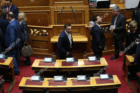 Former Prime Minister Alexis Tsipras (C) attends a swearing in ceremony for the new members of parliament at the Greek Parliament, in Athens, Greece, on 17 July 2019.