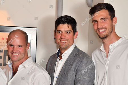 Stock Picture of Andrew Strauss, Alastair Cook and Steven Finn