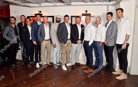 Stock Picture of Felix White, Graeme Swann, Barney Douglas, James Anderson, Paul Collingwood, Monty Panesar, Tim Bresnan, Ian Bell, Jonathan Trott, Andrew Strauss, Alastair Cook and Steven Finn