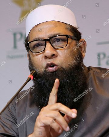 "Pakistan cricket chief selector Inzamam-ul-Haq addresses a news conference in Lahore, Pakistan, . Inzamam said Pakistan cricket needs ""fresh people"" and ""fresh ideas"" to take the team forward after its group-stage exit at the Cricket World Cup"