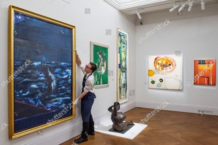 Figure in the Sea, c 1957, by Francis Bacon, Thorn Head, 1947, by Graham Sutherland, Woman arranging her hair, 1955, by Anthony Caro and Untitled Green, 1951, by Peter Lanyon