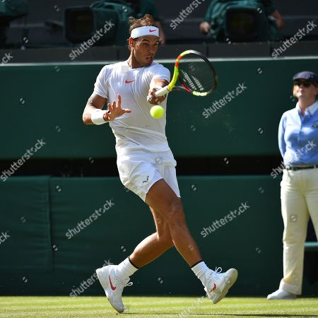 Rafael Nadal In Action. The Championships Tennis Wimbledon 2018. Dudi Sela (isr) V Rafael Nadal (esp)03/7/18.