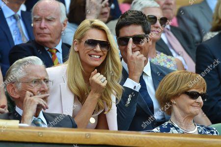 Editorial photo of Tess Daly And Vernon Kay On Centre Court. The Championships Tennis Wimbledon 2018. Dudi Sela (isr) V Rafael Nadal (esp) Pic Bruce Adams 03/7/18.