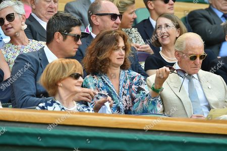 Stock Photo of Vernon Kay Angharad Wood And Charles Dance In The Royal Box. The Championships Tennis Wimbledon 201803/7/18.