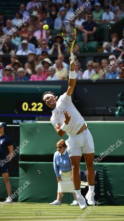 Stock Image of Rafael Nadal In Action. The Championships Tennis Wimbledon 2018. Dudi Sela (isr) V Rafael Nadal (esp)03/7/18.