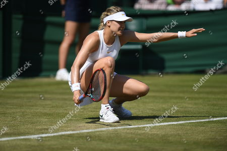 Gabriella Taylor . Wimbledon Tennis Day 2. 03/07/18 Gabriella Taylor (gbr) V Eugenie Bouchard (can) Eugenie Bouchard In Action.