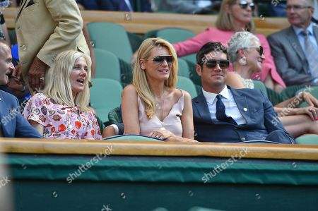 Editorial picture of Joely Richardson Tess Daly And Vernon Kay On Centre Court. The Championships Tennis Wimbledon 2018. Dudi Sela (isr) V Rafael Nadal (esp) Pic Bruce Adams 03/7/18.