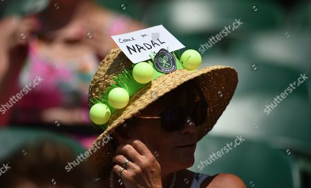 Stock Photo of Rafael Nadal Fan In Hat Tribute. The Championships Tennis Wimbledon 2018 Dudi Sela (isr) V Rafael Nadal (esp)03/7/18.